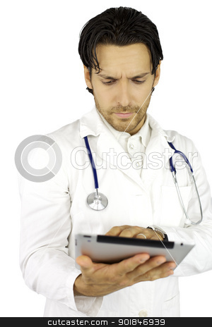 Doctor working with tablet very serious stock photo, Doctor working concentrated with ipad  by federico marsicano
