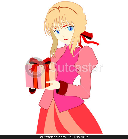 present for you stock vector clipart, Beautiful young girl with wrapping gift box by Oleksandr Kovalenko