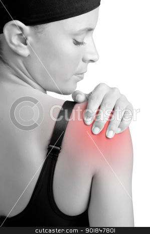 Shoulder Pain stock photo, Young woman with pain in her shoulder by ruigsantos