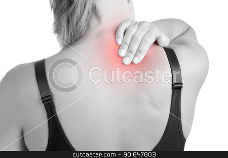 Back Pain stock photo, Young woman with pain in the back of her neck by ruigsantos