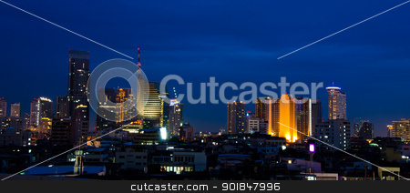 Building at twilight. stock photo, Panoramic view on nice big city at night, Bangkok, Thailand. by chatchai