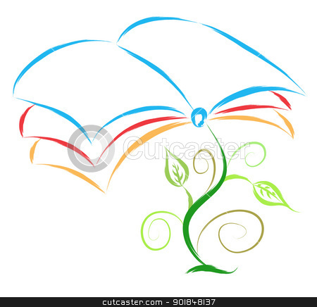 book plant  stock vector clipart, book plant abstract illustration by Ioan Panaite