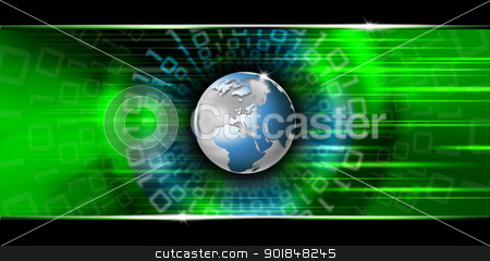 Global Business Concept stock photo, Green and black background with blue map globe business concept  by catalby