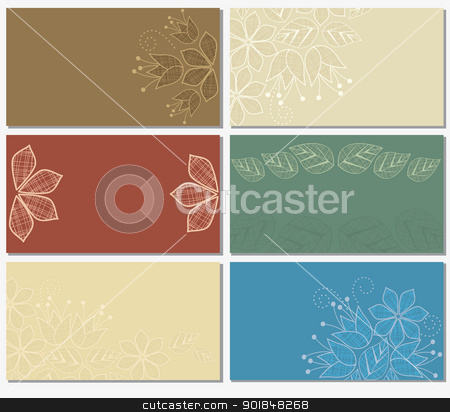 flower card stock vector clipart, business cards with a floral motif  by Miroslava Hlavacova
