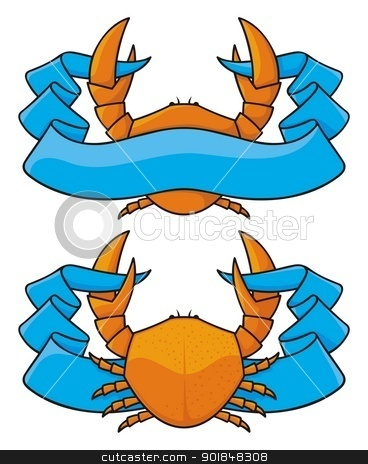 Crab with banner stock vector clipart, Orange crab icon with blue banner in two versions. by fractal.gr
