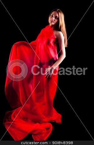 Pretty nude girl with red scarf stock photo, Young beautiful nude woman in red scarf. Isolated on black by Aikon