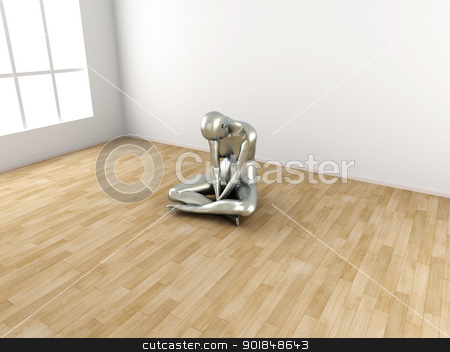 Depression stock photo, Abstract 3D rendered illustration of a depressed woman.  by Michael Osterrieder