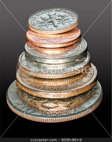 Stack of USA currency coins in macro stock photo, Macro stack of all the US coins circulating in USA from dollar and half dollar coin to cent by Steven Heap