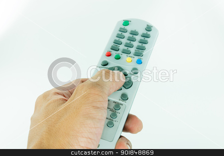 Hand holding remote control on white background stock photo, Hand holding remote control on isolate white background by moggara12