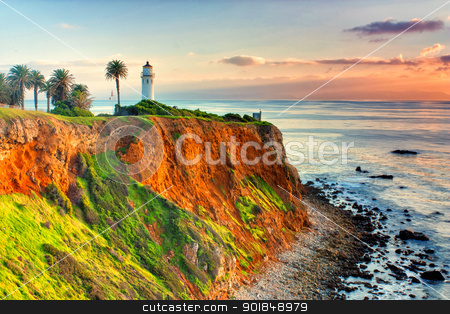 Point Vicente Lighthouse stock photo, Point Vicente Lighthouse as the sun sets over Catalina Island. by Ken Wolter