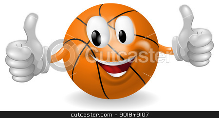 Basket Ball Mascot stock vector clipart, Illustration of a cute happy basketball ball mascot man smiling and giving a thumbs up by Christos Georghiou