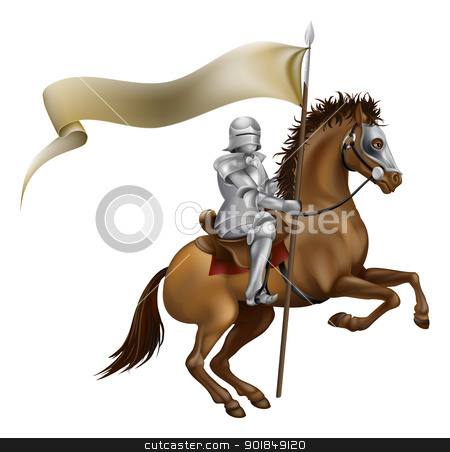 Knight with spear and banner stock vector clipart, A knight with spear and banner mounted on a powerful horse by Christos Georghiou