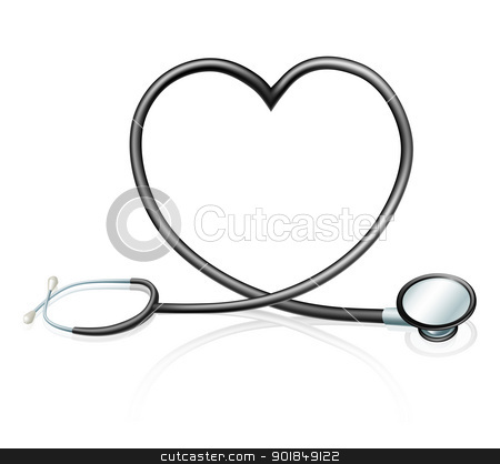Stethoscope heart concept stock vector clipart, Heart health concept, a stethoscope forming a heart shape  by Christos Georghiou
