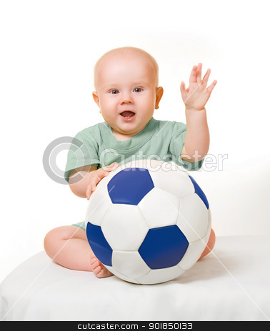 little boy stock photo, little boy with a soccer ball by miloslav78