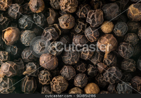 Macro photo of black peppercorn seeds stock photo, Black pepper corn seeds in macro photo by Steven Heap