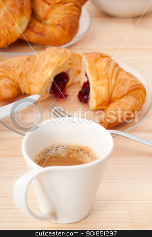 fresh croissant french brioche and coffee stock photo, fresh croissant french brioche and coffee typical traditional Italian breakfast by Francesco Perre