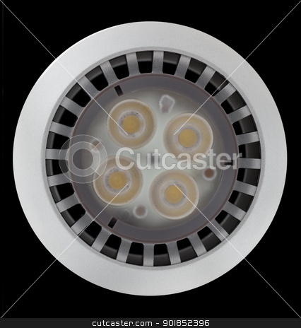 LED light bulb lit from above stock photo, LED Light bulb illuminated and taken from above and isolated against black by Steven Heap