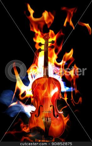Burning flaming violin stock photo, Violin in flames on black background by Matt Jones