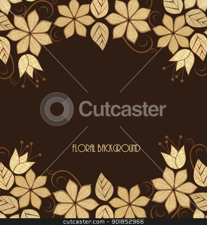 floral frame stock vector clipart, Beautiful Vector flowers frame on a brown background by Miroslava Hlavacova