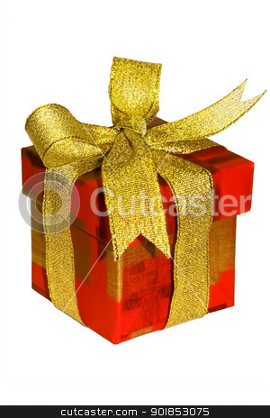present with golden ribbon stock photo, An isolated box with very nice present by Alexey Popov