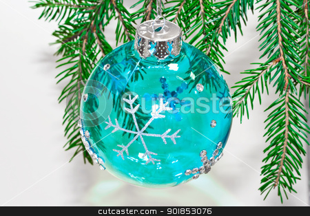 Christmas toy stock photo, Round blue bal as a decoration for the Christmas toy by Alexey Popov