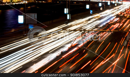Night stock photo, Cars with night lights at the evening by Alexey Popov