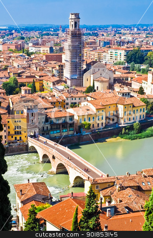 Verona stock photo, Verona panoramic view from the hill, Italy by Alexey Popov