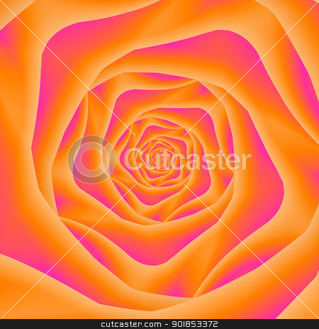 Orange and Pink Rose Spiral stock photo, Computer generated fractal image with a spiral rose design in orange and pink. by Colin Forrest