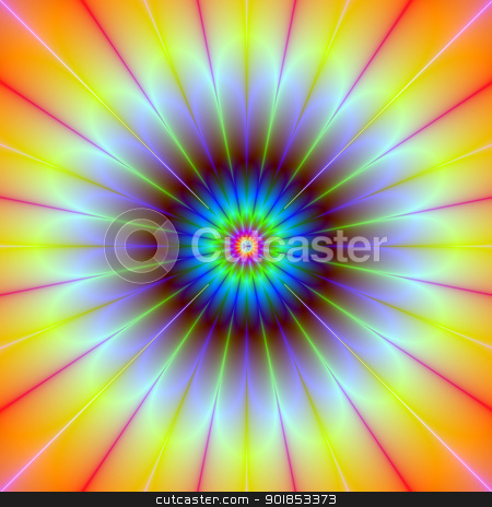 Daisy Fractal stock photo, Computer generated fractal image with a daisy flower design in yellow, blue, red and pink. by Colin Forrest