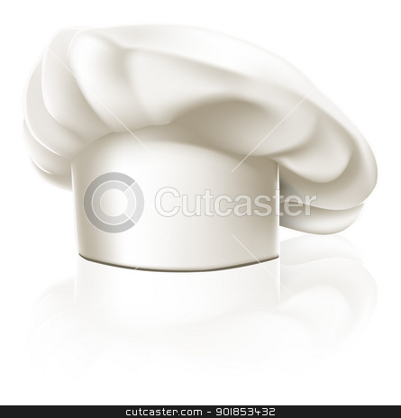 Chef hat illustration stock vector clipart, Illustration of a clean white chef or cook or bakers hat by Christos Georghiou