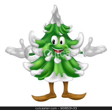Christmas tree mascot character  stock vector clipart, An illustration of a Christmas tree mascot character  by Christos Georghiou