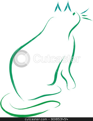 Cat vector stock vector clipart, Cat silhouette in brush drawing style by Ioan Panaite