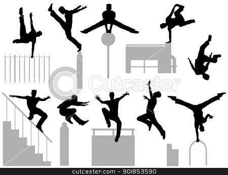 Parkour poses stock vector clipart, Set of editable vector silhouettes of a man doing parkour by Robert Adrian Hillman