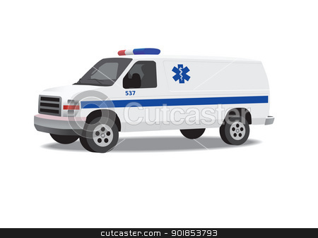 Ambulance van isolated on white stock vector clipart, Ambulance van isolated on white. Vector illustration.  by lkeskinen