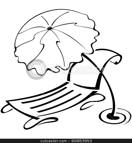 Black And White Contour Umbrella Beach Chair Stock Vector