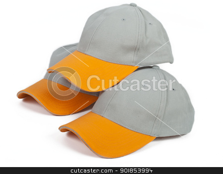 Three super caps stock photo, three cool gray baseball caps with orange visor by burnel11