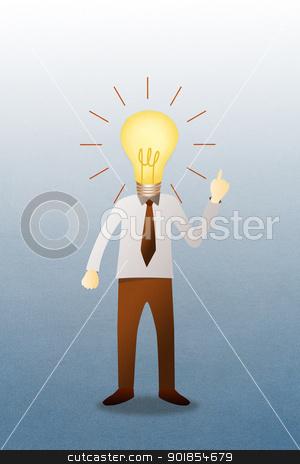 Business man with head  idea lightbulb  stock photo, Business man with head  idea lightbulb  by jakgree