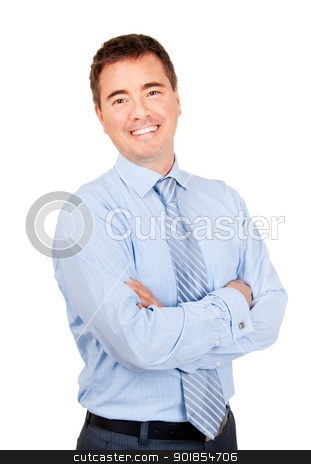 Smiling confident business man stock photo, Smiling confident businessman with arms crossed on isolated background by Stephen Laurence
