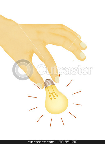 Paper texture ,  illustration of hand picking light bulb stock photo, Paper texture ,  illustration of hand picking light bulb by jakgree