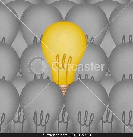 Paper texture ,Light bulbs with one different from the others stock photo, Paper texture ,Light bulbs with one different from the others by jakgree