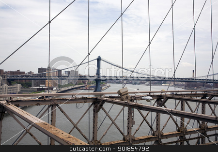 View from Brooklyn Bridge stock photo, View on New York City from the Brooklyn Bridge. by Abdul Sami Haqqani