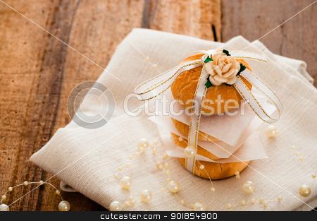 Vanilla cookies stock photo, Vanilla cookies as present on napkin and wooden table by p.studio66