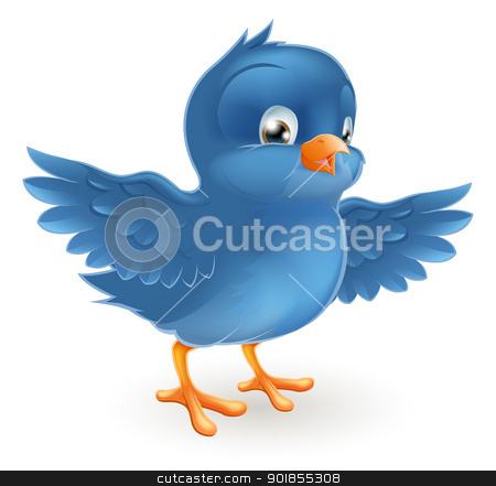 Happy bluebird stock vector clipart, Illustration of a happy little bluebird with wings outstretched  by Christos Georghiou
