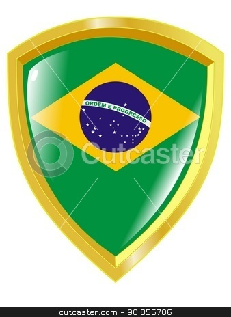 Coat of arms in national colours of Brazil stock vector clipart, Coat of arms in national colours of Brazil by Oleksandr Kovalenko