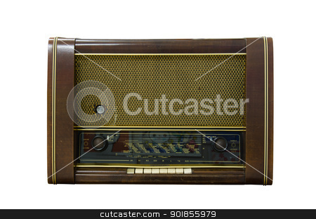 Antique radio  stock photo, Antique radio on a white background by chatchai