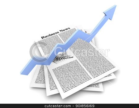 Growth in the Business News stock photo, Looking for the latest business news. 3d rendered Illustration. Isolated on white. by Michael Osterrieder