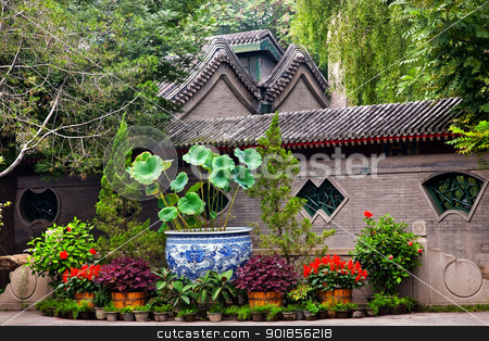 Garden Walls Porcelain Pot Former Residence Soong Ching-Ling Bei stock photo, Garden Walls Porcelain Pot Former Residence of Soong Ching-Ling, Wife of Sun Yat-Sen, Beijing China. by William Perry