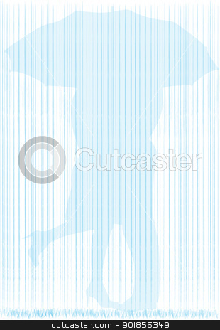 In The Rain stock vector clipart, A couple kissing under an umbrella during a downpour of rain - silhouette. by Kotto