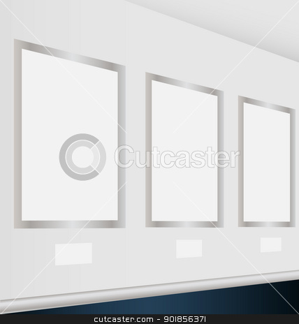 Virtual art gallery with empty frames stock vector clipart, Design of a virtual art gallery with empty frames for multiple creative needs by Vladimir Repka