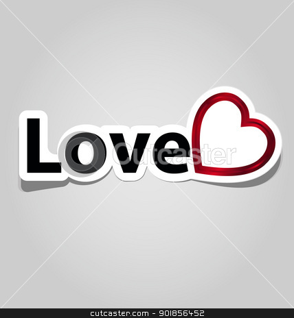 Label with love sign stock vector clipart, Label/sticker with love word and symbol for multipurpose use in design by Vladimir Repka